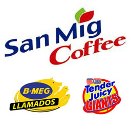 San Mig Coffee Mixers, B-Meg Llamados and Purefood TJ Giants Logo