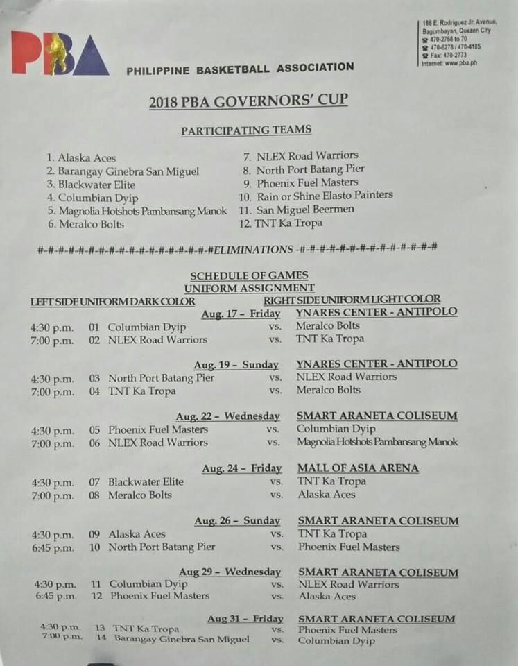 Magnolia Hotshots Schedule for 2018 PBA Governors Cup